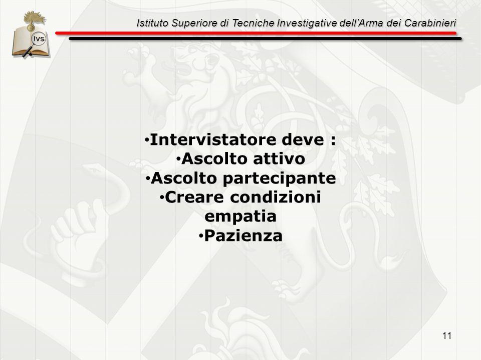 Istituto Superiore di Tecniche Investigative dellArma dei Carabinieri 11 Intervistatore deve : Ascolto attivo Ascolto partecipante Creare condizioni e