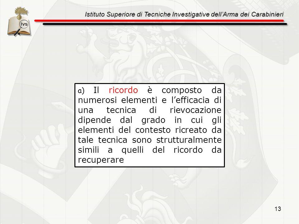 Istituto Superiore di Tecniche Investigative dellArma dei Carabinieri 13 a) Il ricordo è composto da numerosi elementi e lefficacia di una tecnica di