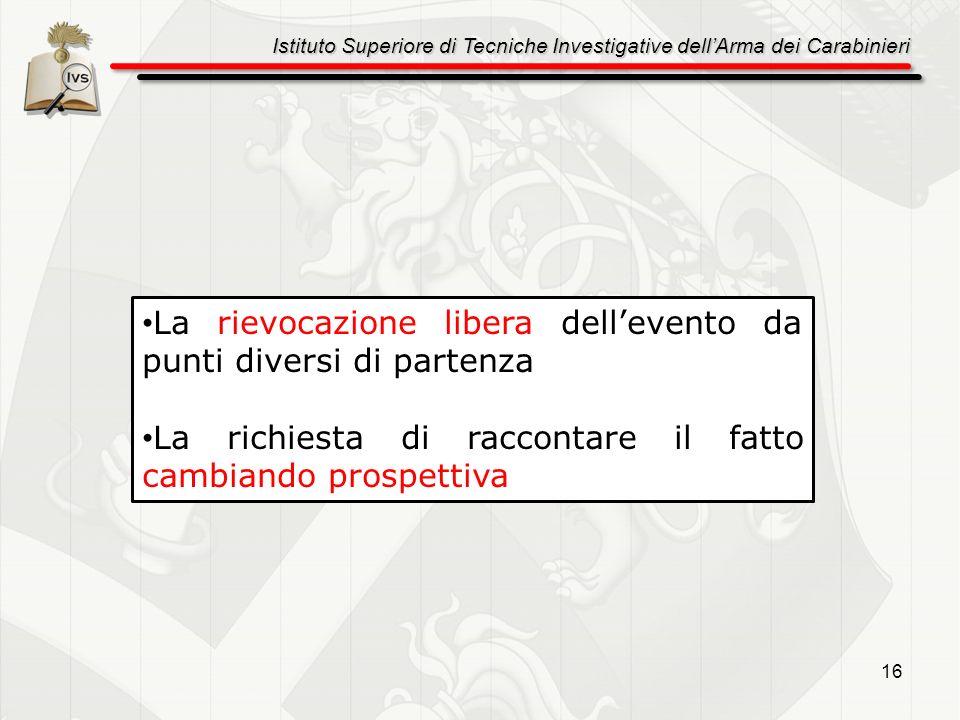 Istituto Superiore di Tecniche Investigative dellArma dei Carabinieri 16 La rievocazione libera dellevento da punti diversi di partenza La richiesta d