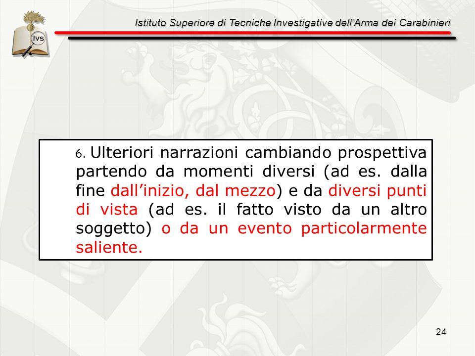 Istituto Superiore di Tecniche Investigative dellArma dei Carabinieri 24 6. Ulteriori narrazioni cambiando prospettiva partendo da momenti diversi (ad