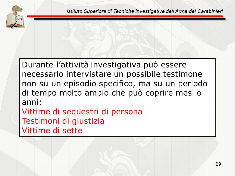 Istituto Superiore di Tecniche Investigative dellArma dei Carabinieri 29 Durante lattività investigativa può essere necessario intervistare un possibi