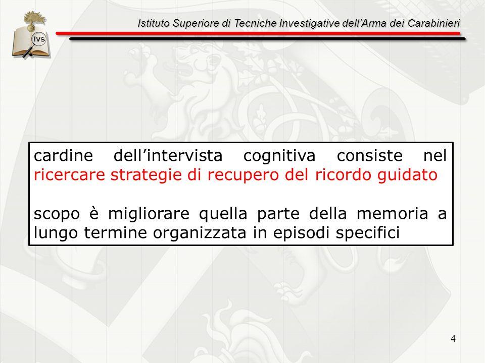 Istituto Superiore di Tecniche Investigative dellArma dei Carabinieri 4 cardine dellintervista cognitiva consiste nel ricercare strategie di recupero