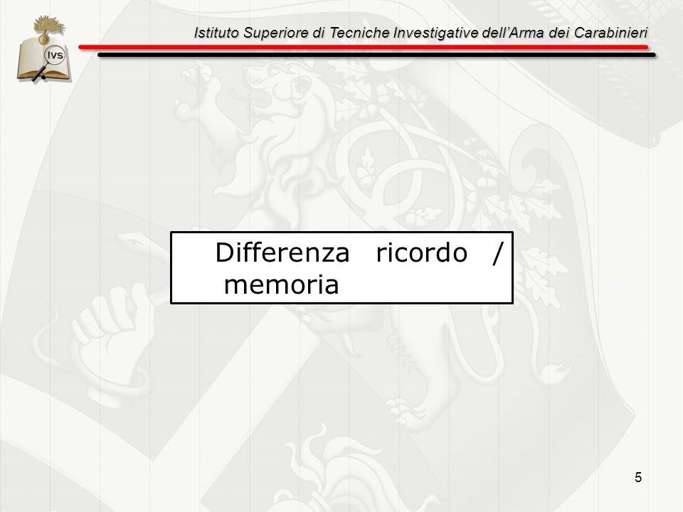 Istituto Superiore di Tecniche Investigative dellArma dei Carabinieri 16 La rievocazione libera dellevento da punti diversi di partenza La richiesta di raccontare il fatto cambiando prospettiva