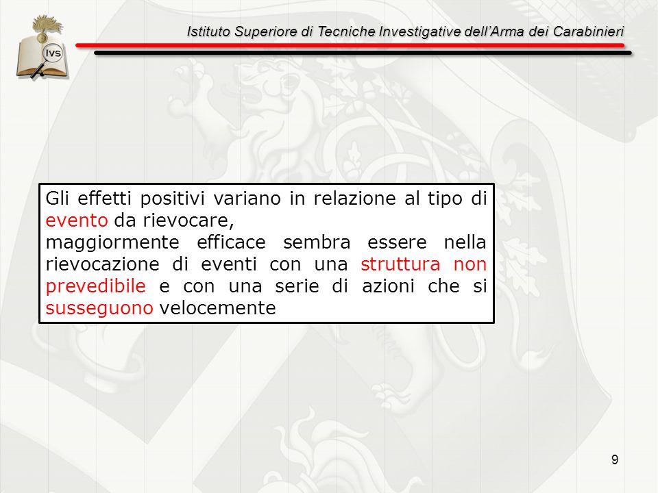 Istituto Superiore di Tecniche Investigative dellArma dei Carabinieri 9 Gli effetti positivi variano in relazione al tipo di evento da rievocare, magg