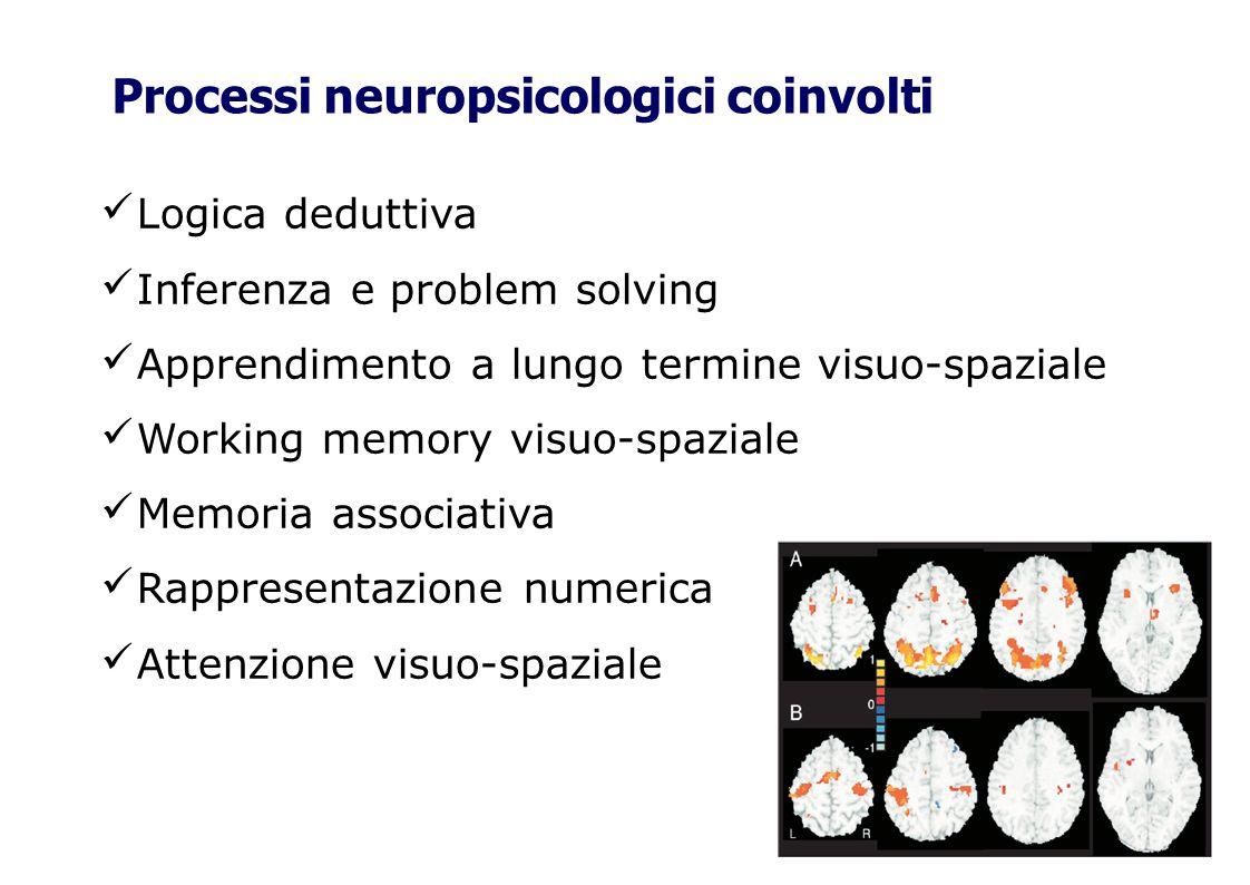 Logica deduttiva Inferenza e problem solving Apprendimento a lungo termine visuo-spaziale Working memory visuo-spaziale Memoria associativa Rappresent