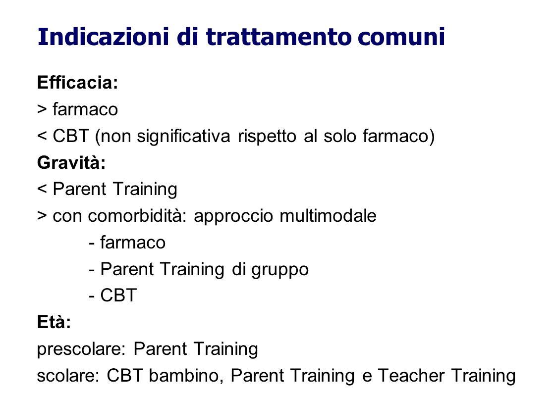 Efficacia: > farmaco < CBT (non significativa rispetto al solo farmaco) Gravità: < Parent Training > con comorbidità: approccio multimodale - farmaco