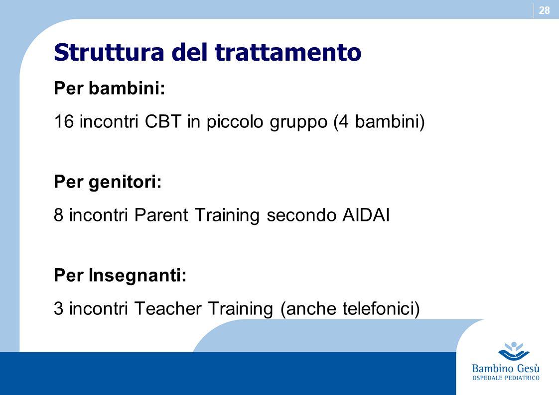 28 Per bambini: 16 incontri CBT in piccolo gruppo (4 bambini) Per genitori: 8 incontri Parent Training secondo AIDAI Per Insegnanti: 3 incontri Teache