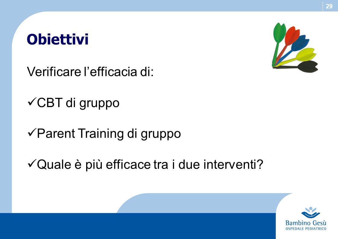 29 Obiettivi Verificare lefficacia di: CBT di gruppo Parent Training di gruppo Quale è più efficace tra i due interventi?