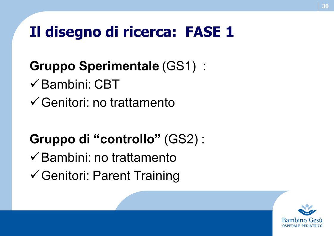 30 Gruppo Sperimentale (GS1) : Bambini: CBT Genitori: no trattamento Gruppo di controllo (GS2) : Bambini: no trattamento Genitori: Parent Training Il