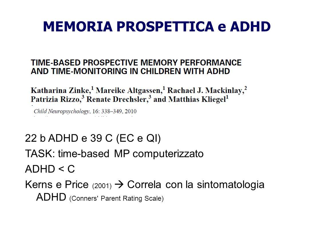 MEMORIA PROSPETTICA e ADHD 22 b ADHD e 39 C (EC e QI) TASK: time-based MP computerizzato ADHD < C Kerns e Price (2001) Correla con la sintomatologia A