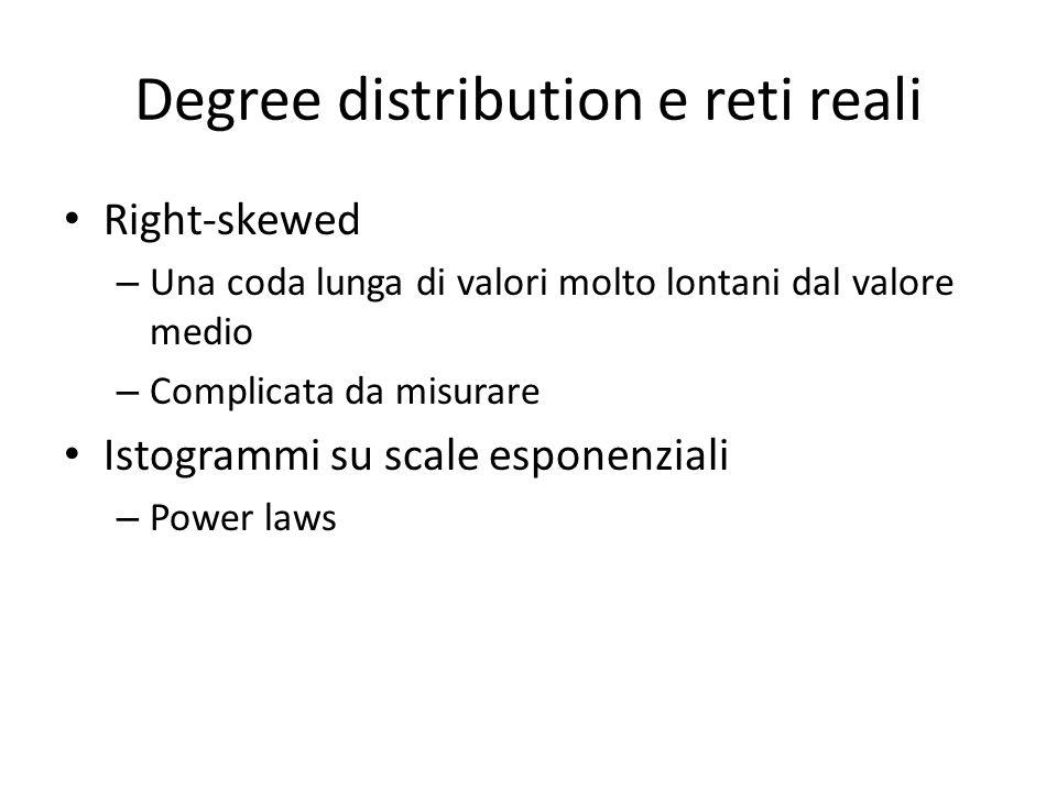 Degree distribution e reti reali Right-skewed – Una coda lunga di valori molto lontani dal valore medio – Complicata da misurare Istogrammi su scale e