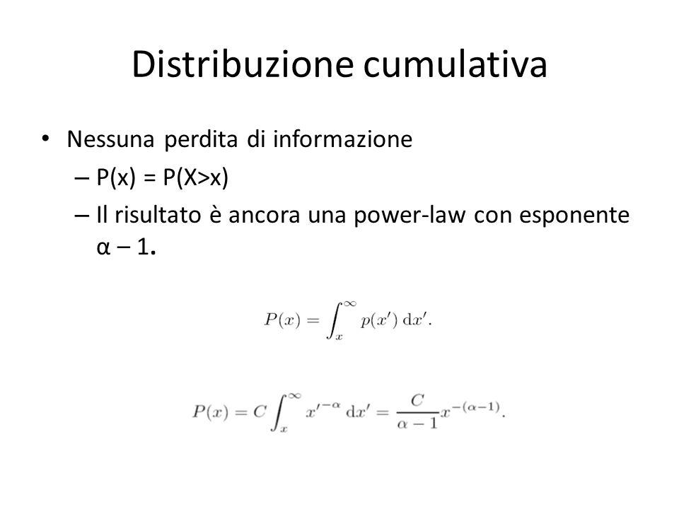 Distribuzione cumulativa Nessuna perdita di informazione – P(x) = P(X>x) – Il risultato è ancora una power-law con esponente α – 1.