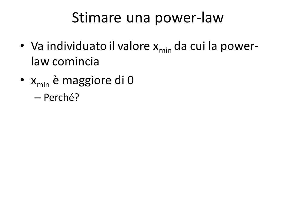 Stimare una power-law Va individuato il valore x min da cui la power- law comincia x min è maggiore di 0 – Perché?