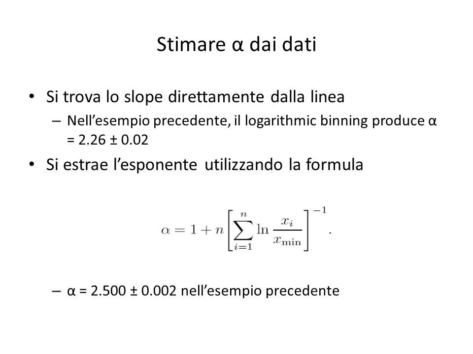 Stimare α dai dati Si trova lo slope direttamente dalla linea – Nellesempio precedente, il logarithmic binning produce α = 2.26 ± 0.02 Si estrae lespo