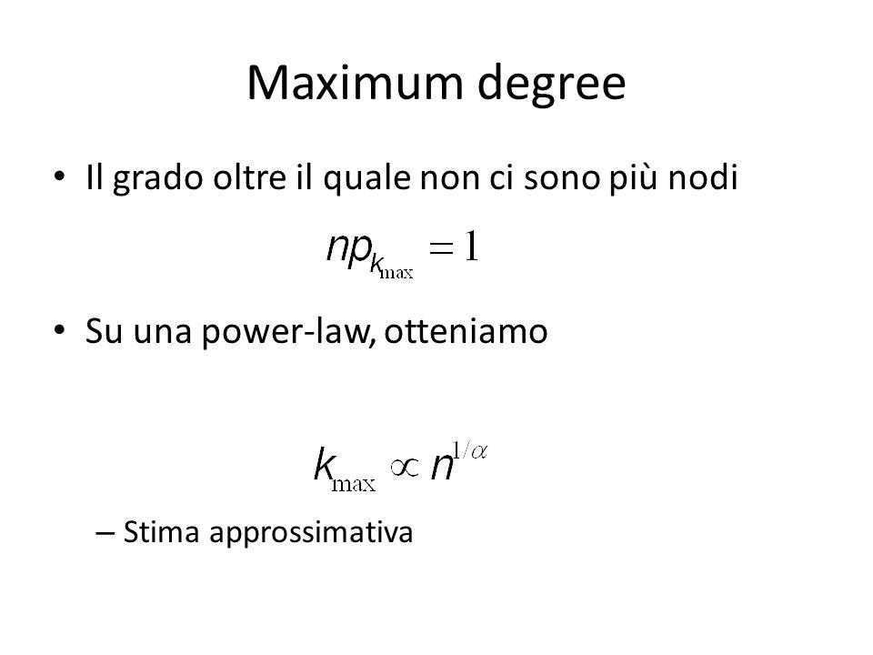 Maximum degree Il grado oltre il quale non ci sono più nodi Su una power-law, otteniamo – Stima approssimativa