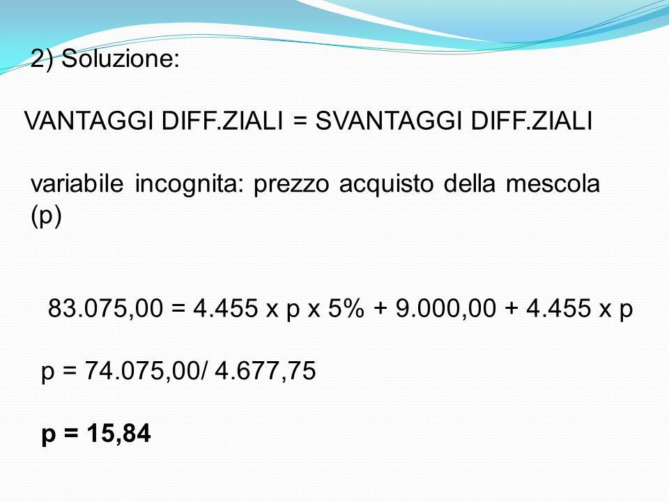 2) Soluzione: VANTAGGI DIFF.ZIALI = SVANTAGGI DIFF.ZIALI variabile incognita: prezzo acquisto della mescola (p) 83.075,00 = 4.455 x p x 5% + 9.000,00