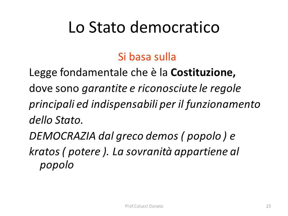 Lo Stato democratico LA DEMOCRAZIA SI ESERCITA -democrazia diretta > il popolo vota i provvedimenti più importanti della vita del Paese.