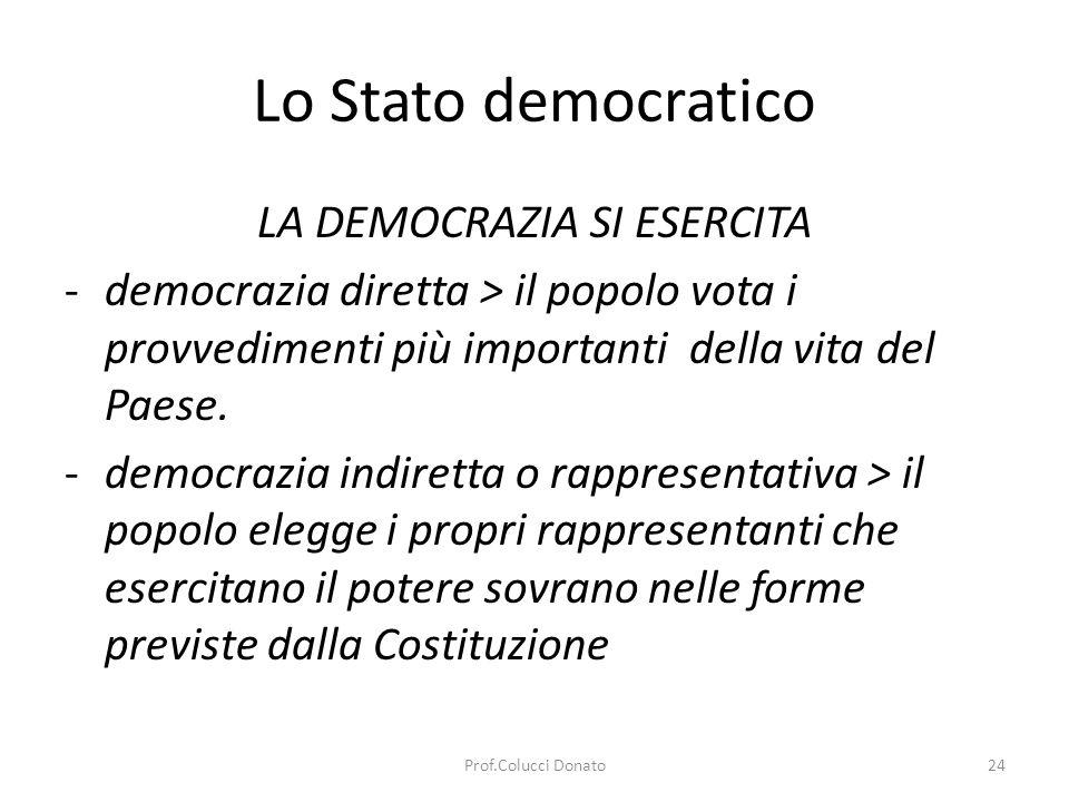 Elementi essenziali dello Stato democratico il suffragio universale pluralismo politico tutela dei valori fondamentali la forte presenza dello Stato nel settore sociale ed economico Lo Stato democratico 25Prof.Colucci Donato