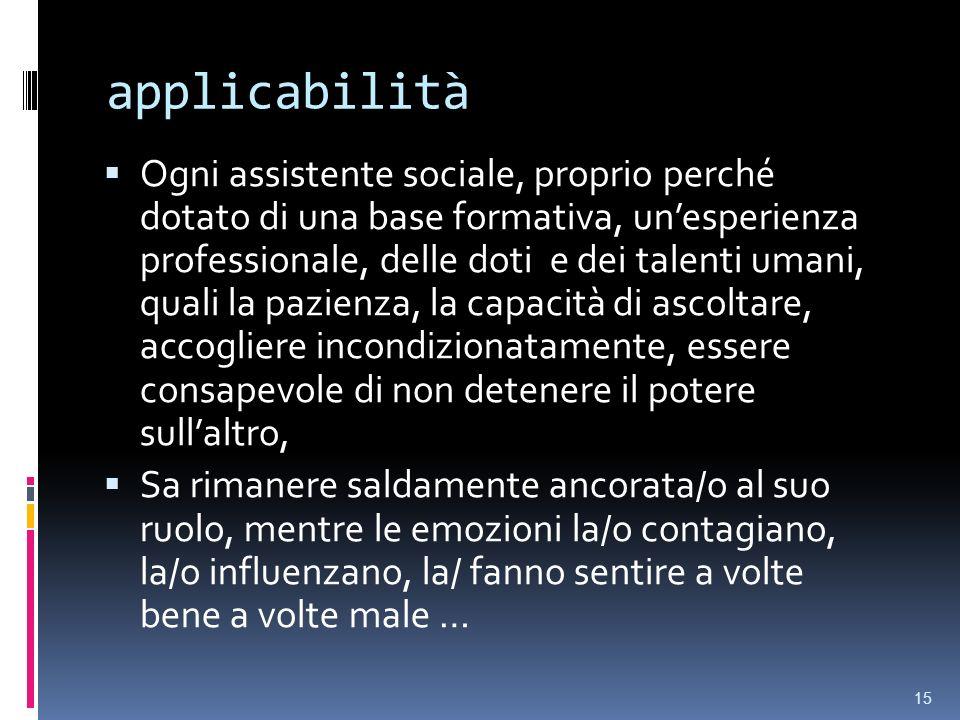 applicabilità Ogni assistente sociale, proprio perché dotato di una base formativa, unesperienza professionale, delle doti e dei talenti umani, quali