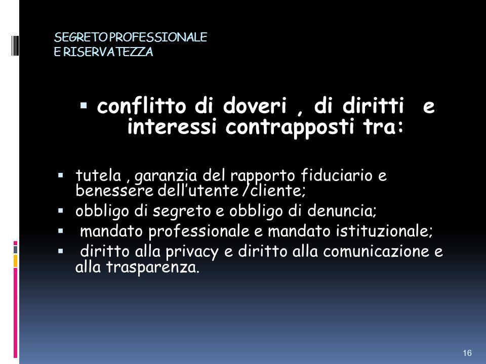 SEGRETO PROFESSIONALE E RISERVATEZZA conflitto di doveri, di diritti e interessi contrapposti tra: tutela, garanzia del rapporto fiduciario e benesser