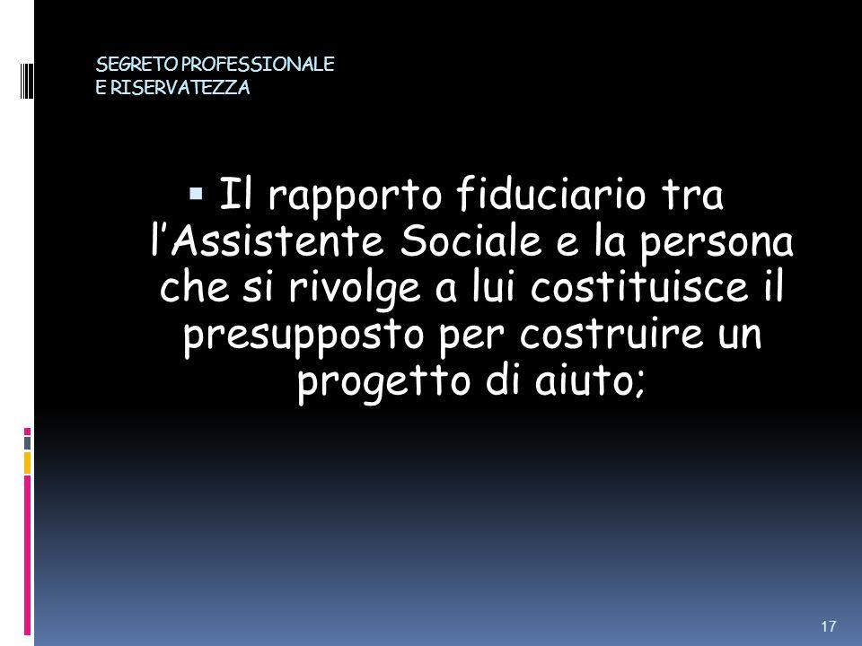 SEGRETO PROFESSIONALE E RISERVATEZZA Il rapporto fiduciario tra lAssistente Sociale e la persona che si rivolge a lui costituisce il presupposto per c
