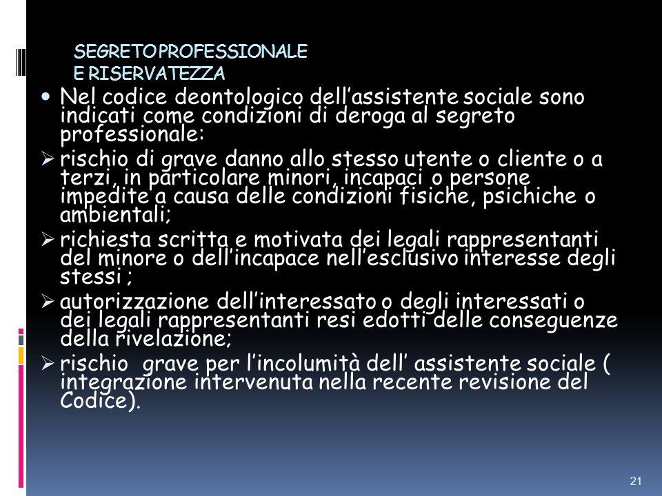 SEGRETO PROFESSIONALE E RISERVATEZZA Nel codice deontologico dellassistente sociale sono indicati come condizioni di deroga al segreto professionale: