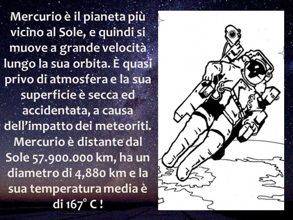 Mercurio è il pianeta più vicino al Sole, e quindi si muove a grande velocità lungo la sua orbita. È quasi privo di atmosfera e la sua superficie è se