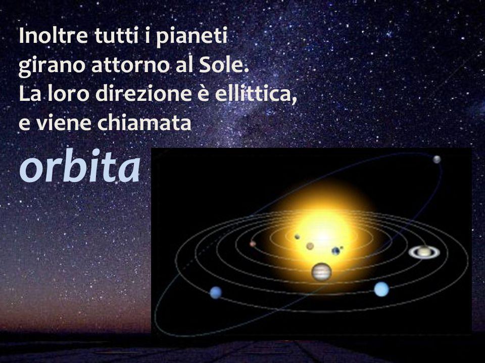 Inoltre tutti i pianeti girano attorno al Sole. La loro direzione è ellittica, e viene chiamata orbita