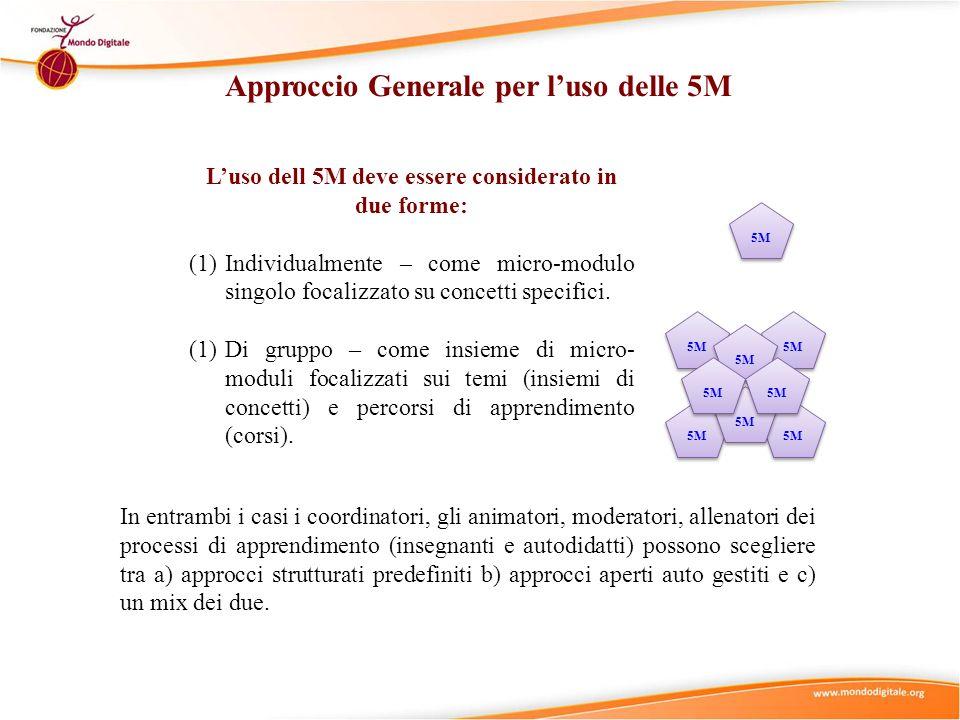 Approccio Generale per luso delle 5M Luso dell 5M deve essere considerato in due forme: (1)Individualmente – come micro-modulo singolo focalizzato su concetti specifici.