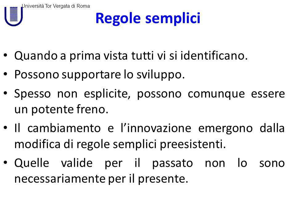 Università Tor Vergata di Roma Regole semplici Esiti molto complessi possono emergere da poche semplici regole applicate localmente.