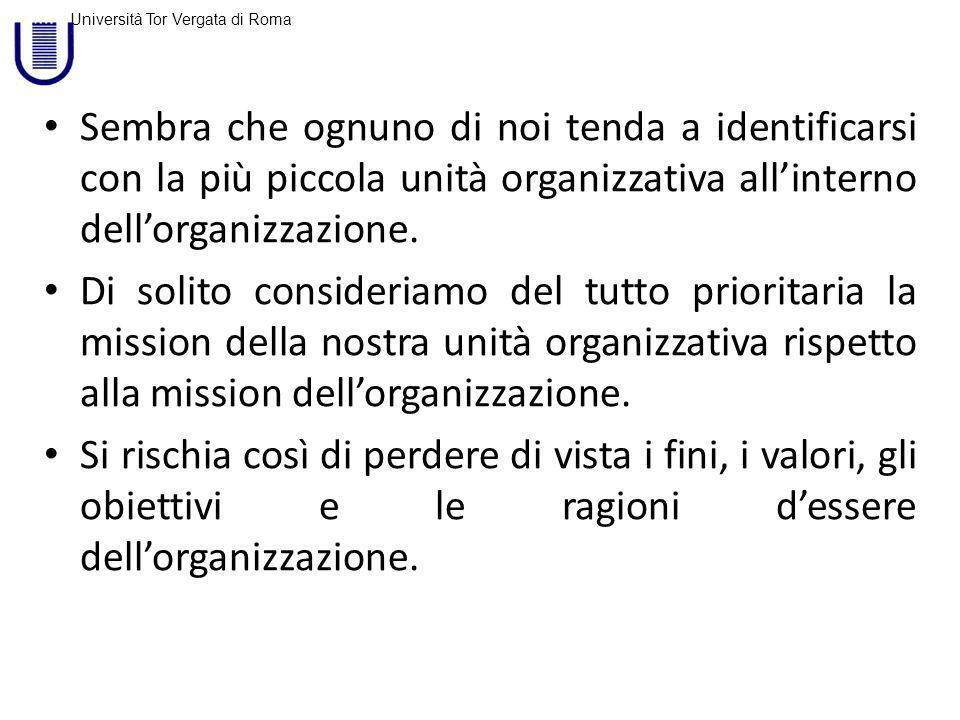 Università Tor Vergata di Roma Accade che nellambito dellorganizzazione i sottogruppi tendono a considerarsi fondamentali e i membri di un sottogruppo tendono ad applicare i loro standard ad altri sottogruppi con il risultato che il conflitto è inevitabile.