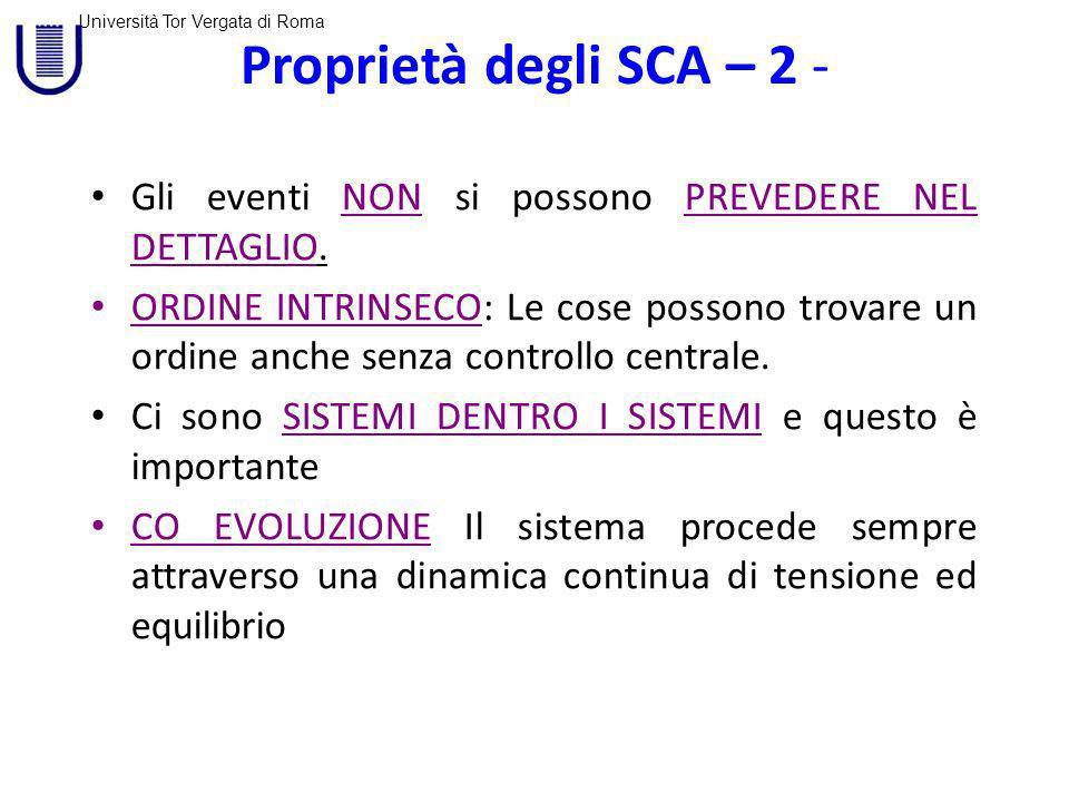 Università Tor Vergata di Roma Proprietà degli SCA – 2 - Gli eventi NON si possono PREVEDERE NEL DETTAGLIO.