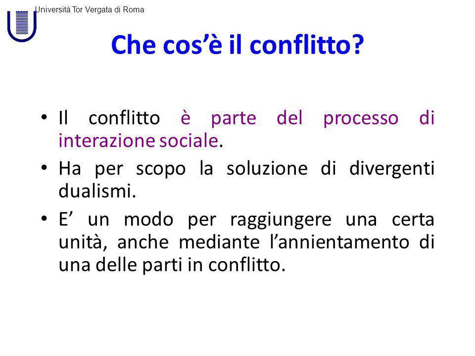 Università Tor Vergata di Roma Il conflitto allinterno delle organizzazioni E inevitabile, ma non è necessariamente un male.