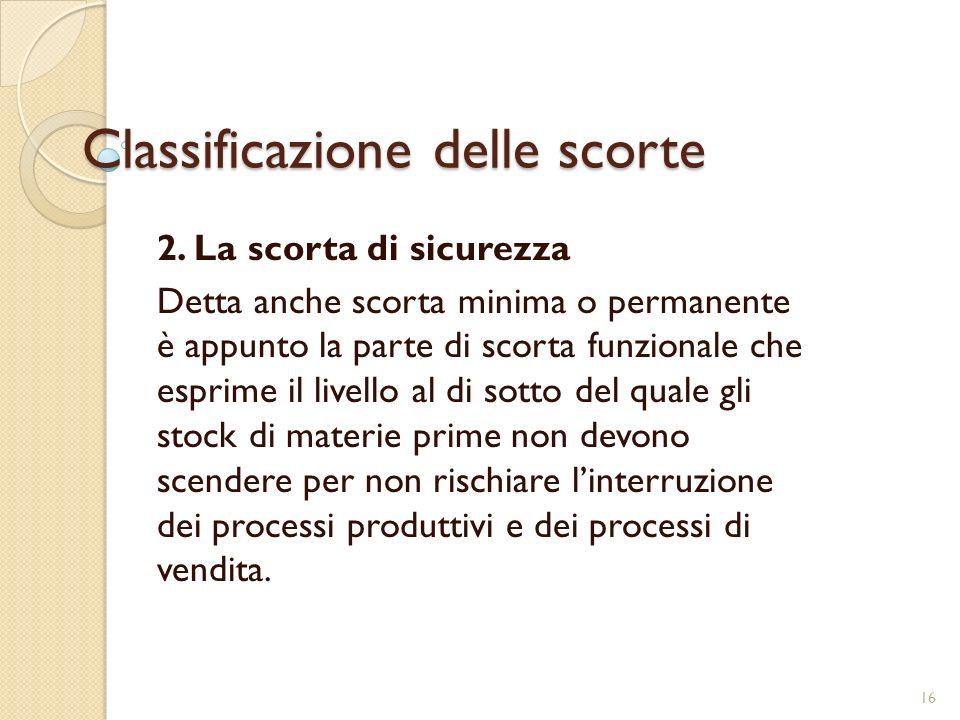 Classificazione delle scorte 2.