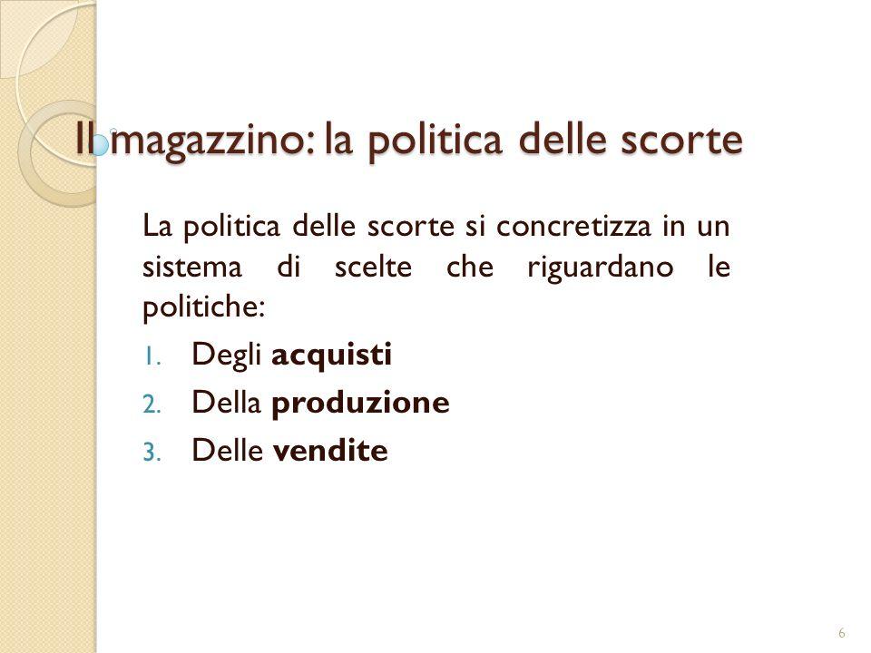 Il magazzino: la politica delle scorte La politica delle scorte si concretizza in un sistema di scelte che riguardano le politiche: 1.