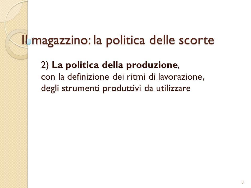 Il magazzino: la politica delle scorte 2) La politica della produzione, con la definizione dei ritmi di lavorazione, degli strumenti produttivi da utilizzare 8