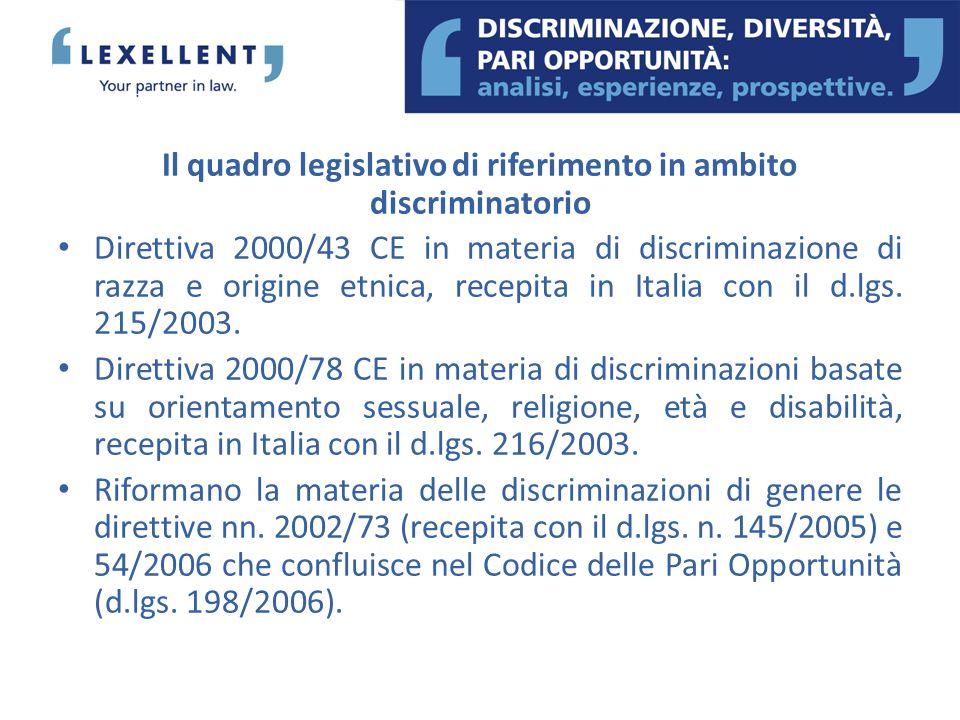 Il quadro legislativo di riferimento in ambito discriminatorio Direttiva 2000/43 CE in materia di discriminazione di razza e origine etnica, recepita