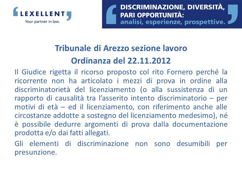 Tribunale di Arezzo sezione lavoro Ordinanza del 22.11.2012 Il Giudice rigetta il ricorso proposto col rito Fornero perché la ricorrente non ha artico
