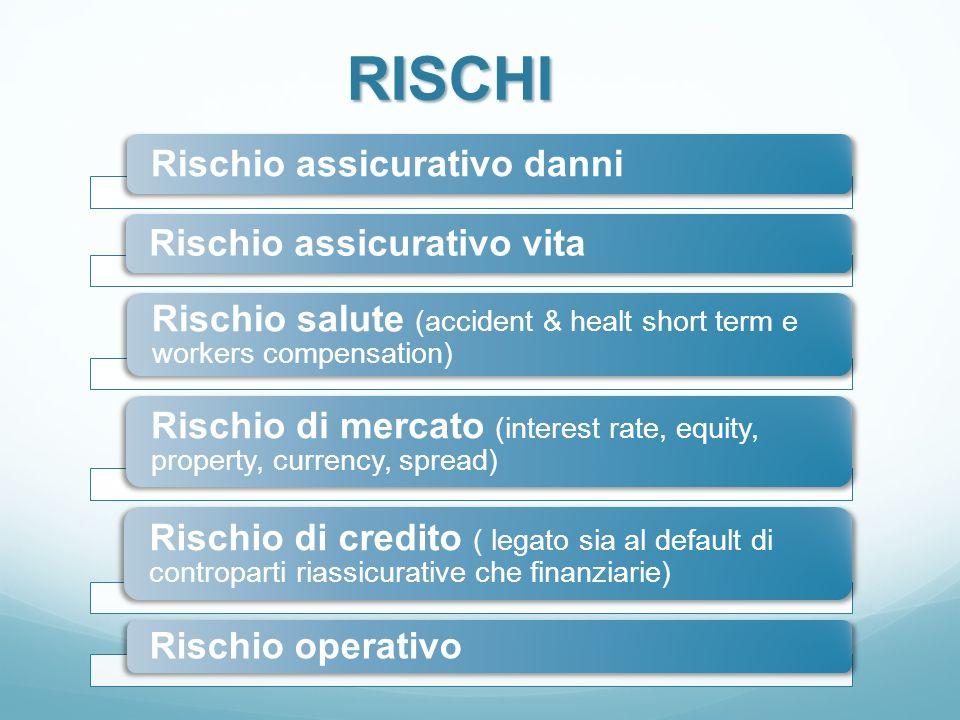 Rischio assicurativo danni Rischio assicurativo vita Rischio salute (accident & healt short term e workers compensation) Rischio di mercato (interest
