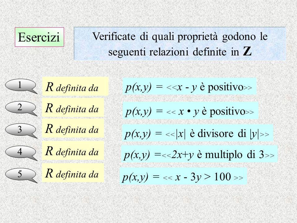 Esercizi 1 Verificate di quali proprietà godono le seguenti relazioni definite in Z 2 3 4 5 R definita da p(x,y) = > R definita da R definita da R def