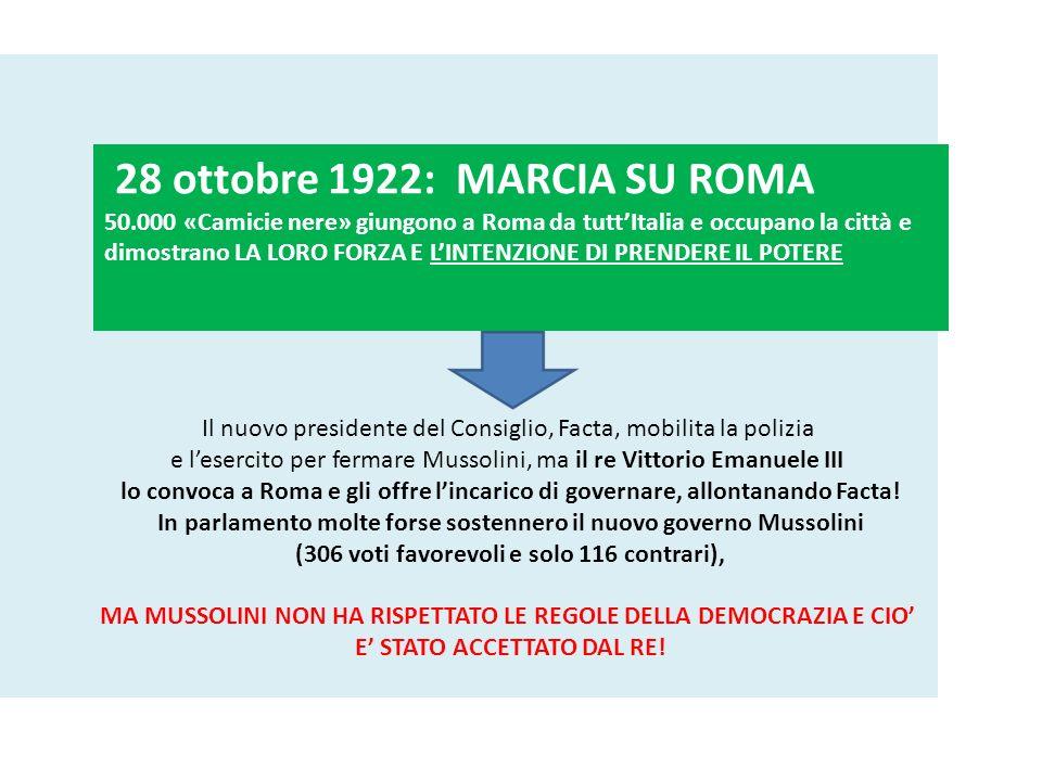 28 ottobre 1922: MARCIA SU ROMA 50.000 «Camicie nere» giungono a Roma da tuttItalia e occupano la città e dimostrano LA LORO FORZA E LINTENZIONE DI PR