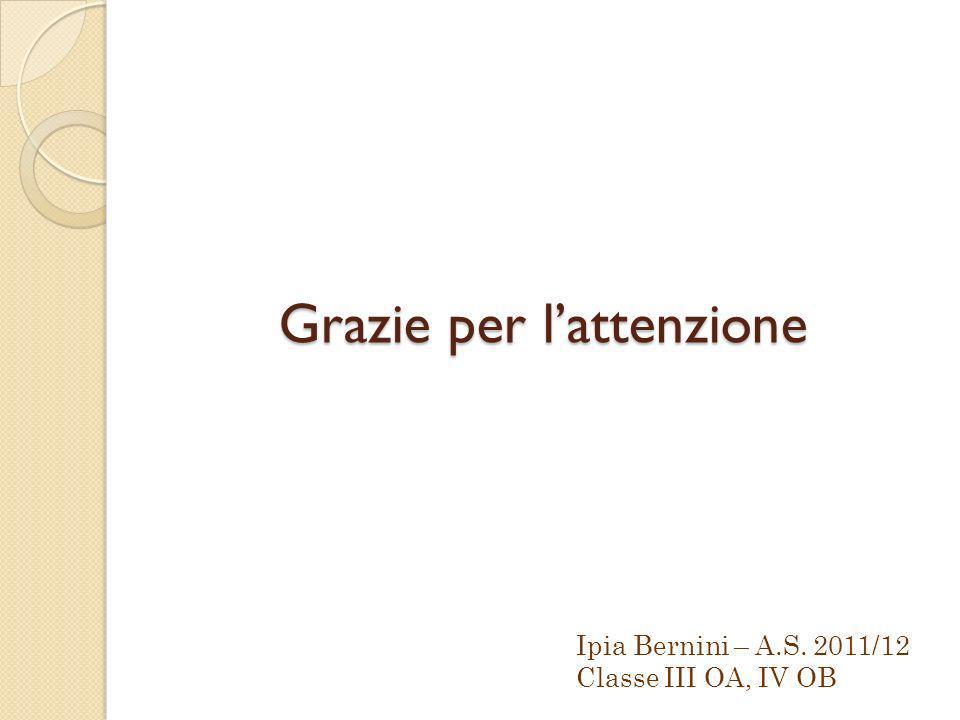 Grazie per lattenzione Ipia Bernini – A.S. 2011/12 Classe III OA, IV OB