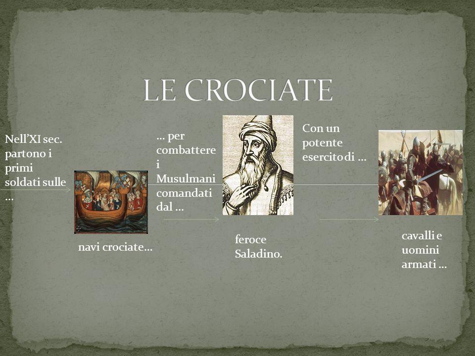 NellXI sec. partono i primi soldati sulle... navi crociate… … per combattere i Musulmani comandati dal... Con un potente esercito di... feroce Saladin