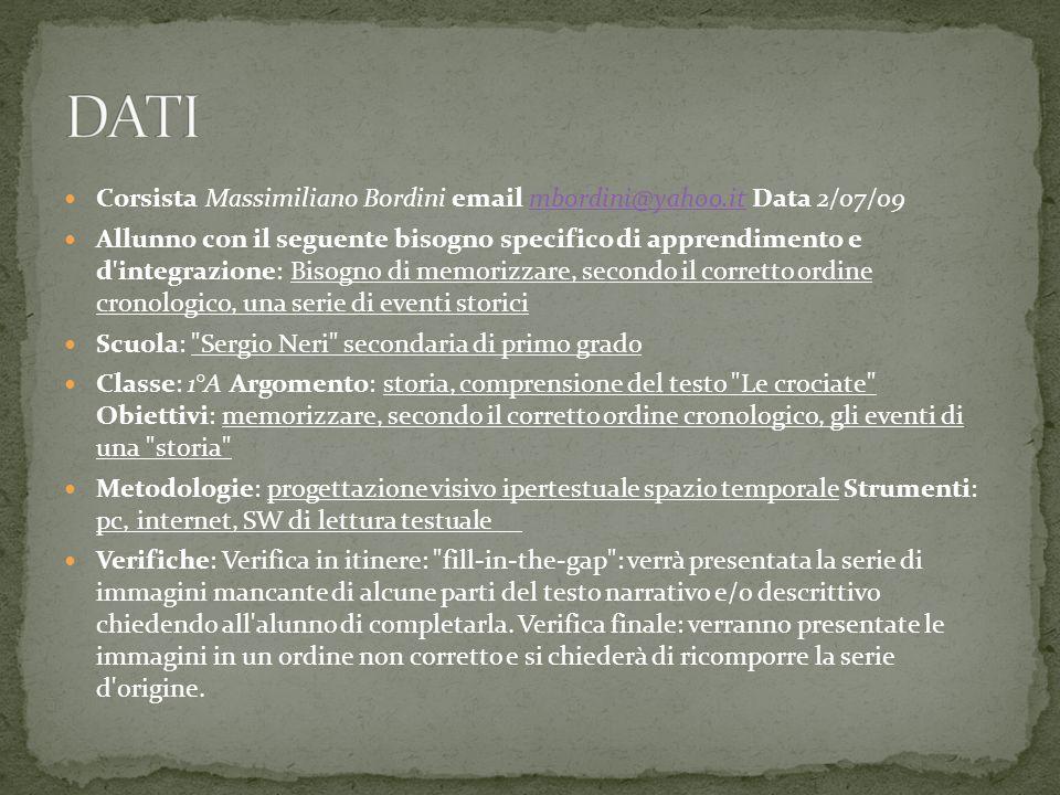 Corsista Massimiliano Bordini email mbordini@yahoo.it Data 2/07/09mbordini@yahoo.it Allunno con il seguente bisogno specifico di apprendimento e d'int