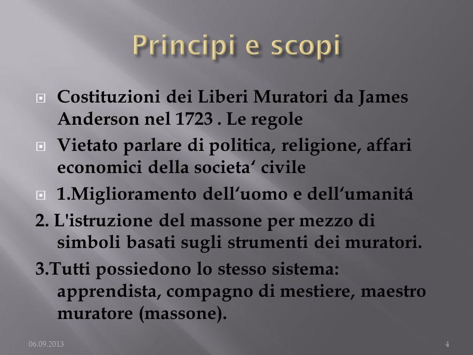 Costituzioni dei Liberi Muratori da James Anderson nel 1723. Le regole Vietato parlare di politica, religione, affari economici della societa civile 1