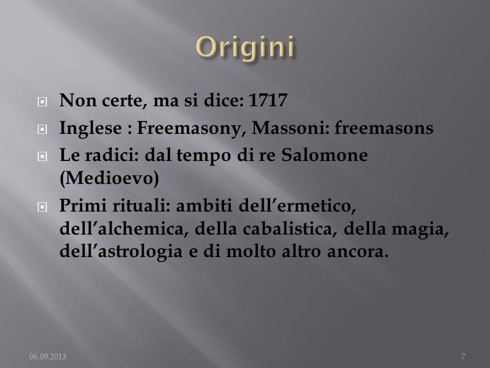 Non certe, ma si dice: 1717 Inglese : Freemasony, Massoni: freemasons Le radici: dal tempo di re Salomone (Medioevo) Primi rituali: ambiti dellermetic