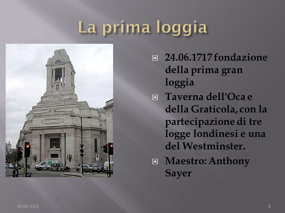 24.06.1717 fondazione della prima gran loggia Taverna dell'Oca e della Graticola, con la partecipazione di tre logge londinesi e una del Westminster.