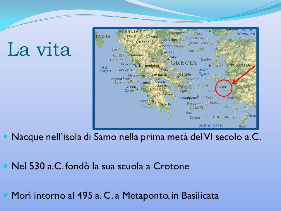 La vita Nacque nellisola di Samo nella prima metà del VI secolo a.C. Nel 530 a.C. fondò la sua scuola a Crotone Morì intorno al 495 a. C. a Metaponto,