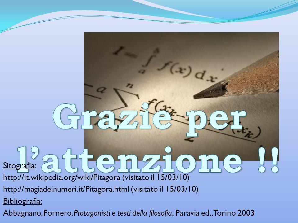 Sitografia: http://it.wikipedia.org/wiki/Pitagora (visitato il 15/03/10) http://magiadeinumeri.it/Pitagora.html (visitato il 15/03/10) Bibliografia: A