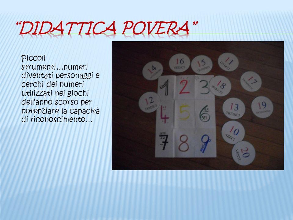 Piccoli strumenti…numeri diventati personaggi e cerchi dei numeri utilizzati nei giochi dellanno scorso per potenziare la capacità di riconoscimento…